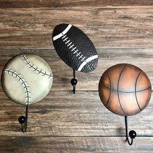 Other - Three metal sports hooks for kid's bedroom